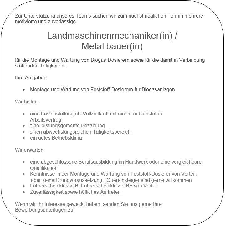 Stellenangebote Landtechnik Metallbau Schweissfachbetrieb